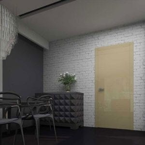 Межкомнатная дверь Glossify Estetic Beige в коробке APMR7. Стеклянные вставки в наличники бежевого цвета.