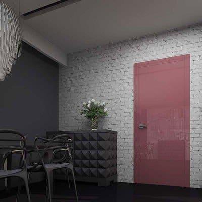 Межкомнатная дверь Glossify Fantasy Red в коробке APMR7. Стеклянные вставки в наличники модного красного цвета.