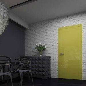Межкомнатная дверьGlossify Mixed Yellow с панелями желтого оттенка. Высокий глянец.