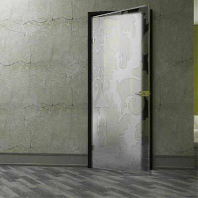 """Стеклянная межкомнатная дверь из прозрачного стекла с рисунком """"Итальянский v.1"""", пескоструйная обработка производится с двух сторон дверного полотна"""