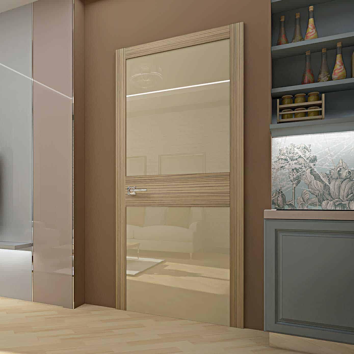 Межкомнатная дверь Crescendo Zebrano в модном интерьере