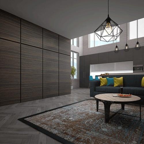 Стеновые декоративные панели Pariete Tres-Dimensiva-Reps изготовленные из 3d-шпона REPS благородоного темно-коричневого цвета